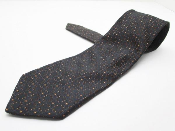 ZILLI(ジリー) ネクタイ メンズ 黒×オレンジ シルク