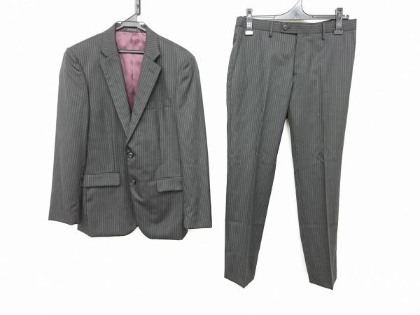 NICOLE(ニコル) シングルスーツ サイズ46 XL メンズ美品  黒×ピンク×ライトグレー
