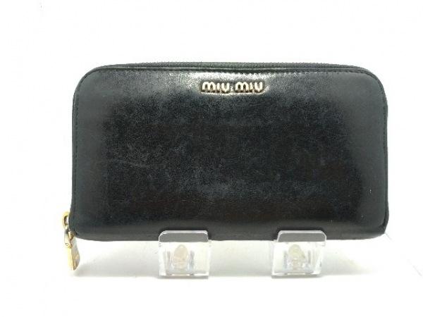 miumiu(ミュウミュウ) 長財布 - 黒 ラウンドファスナー レザー