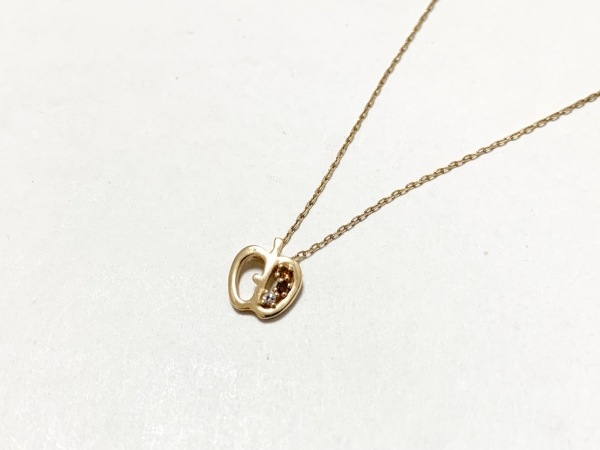 TAKE-UP(テイクアップ) ネックレス美品  K10×ダイヤモンド 0.01カラット/アップル