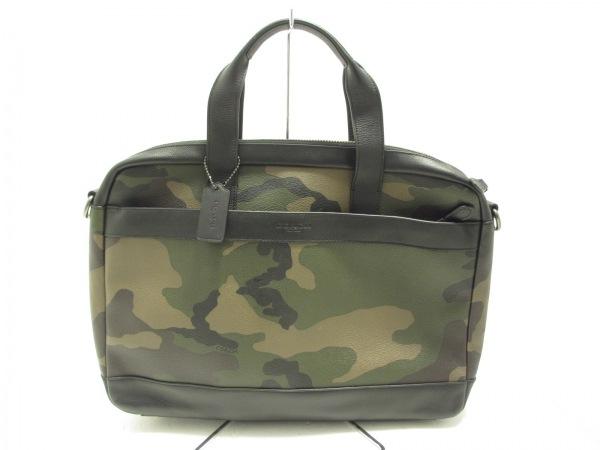 COACH(コーチ) ビジネスバッグ美品  - F59896 黒×ダークグリーン×マルチ