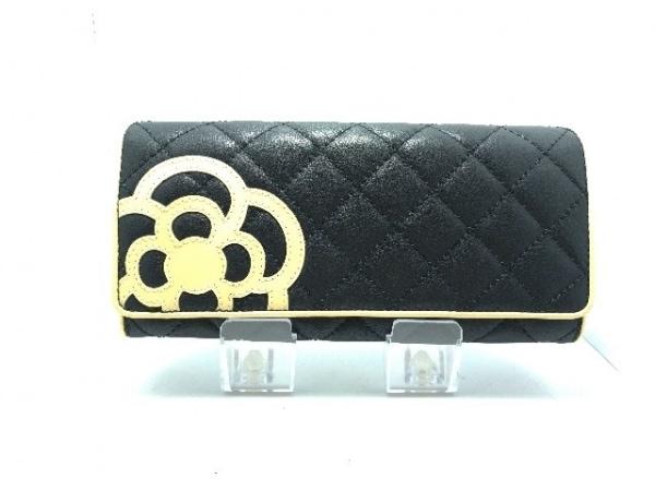 CLATHAS(クレイサス) 長財布美品  黒×アイボリー フラワー/キルティング