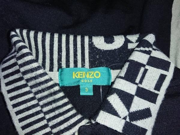 KENZO(ケンゾー) 長袖ポロシャツ サイズ3 L メンズ 黒×グレー GOLF
