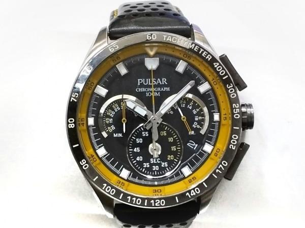 PULSAR(パルサー) 腕時計 VK63-X001 メンズ 革ベルト/クロノグラフ 黒