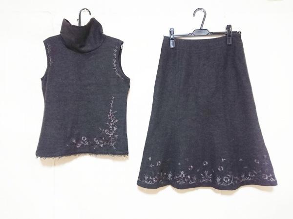 コムサデモード スカートセットアップ レディース ダークグレー 刺繍