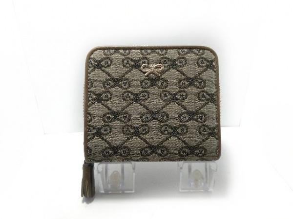 Anya Hindmarch(アニヤハインドマーチ) 2つ折り財布 カーキグレー ジャガード×レザー