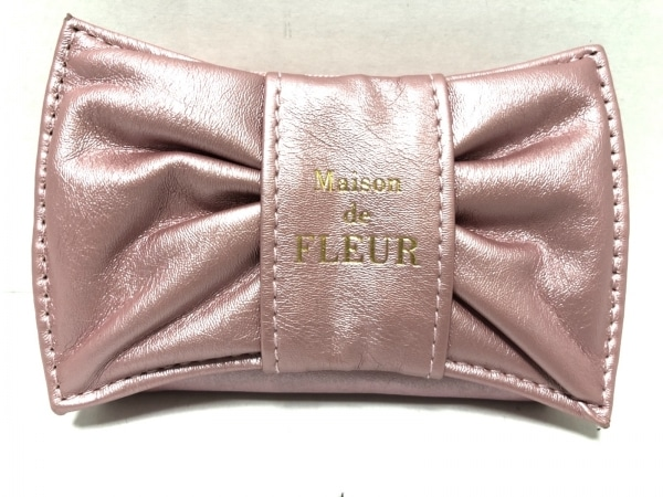 Maison de FLEUR(メゾンドフルール) 小物入れ ピンク リボン 合皮