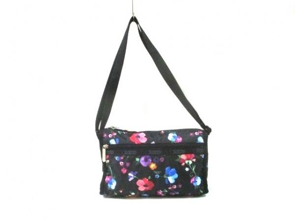 レスポートサック ショルダーバッグ美品  黒×レッド×マルチ 花柄/ミニバッグ