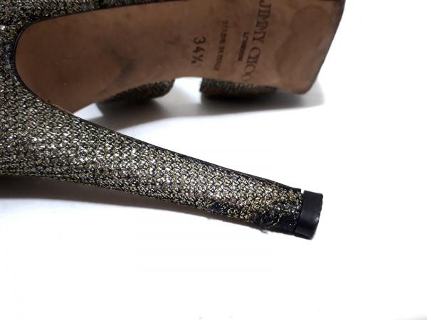 ジミーチュウ サンダル 34 1/2 レディース ゴールド×黒 オープントゥ 化学繊維