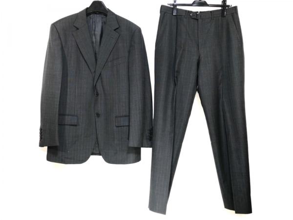 ゼニア シングルスーツ サイズ50R メンズ ダークグレー×レッド 肩パッド/ストライプ