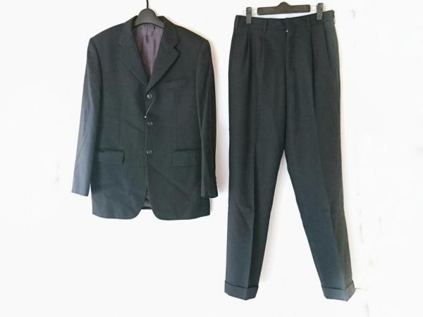 メンズビギ シングルスーツ サイズS メンズ 黒×グレー 肩パッド/ストライプ