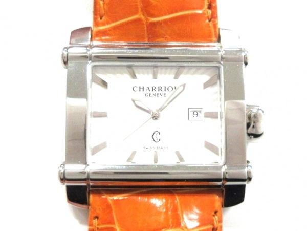 CHARRIOL(シャリオール) 腕時計美品  CCHL レディース 革ベルト/型押し加工 白