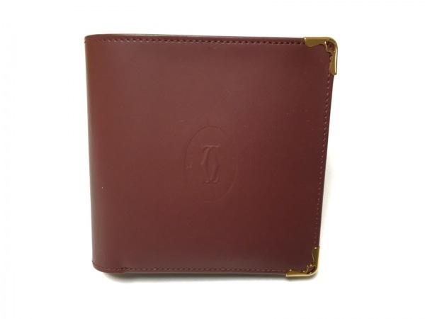 Cartier(カルティエ) 2つ折り財布美品  マストライン ボルドー×ゴールド レザー