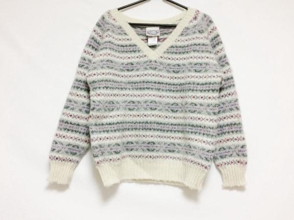 ジャミーソンズ 長袖セーター サイズF メンズ美品  白×ダークグリーン×マルチ