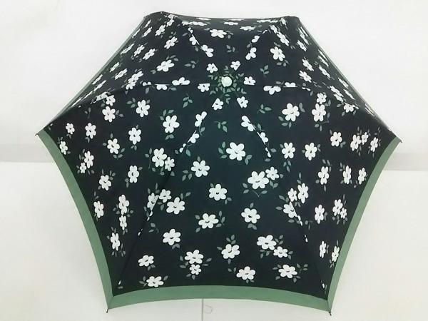 Afternoon Tea(アフタヌーンティー) 折りたたみ傘美品  黒×マルチ 花柄 ナイロン