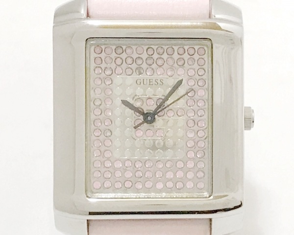 GUESS(ゲス) 腕時計美品  - レディース スワロフスキー ピンク×シルバー