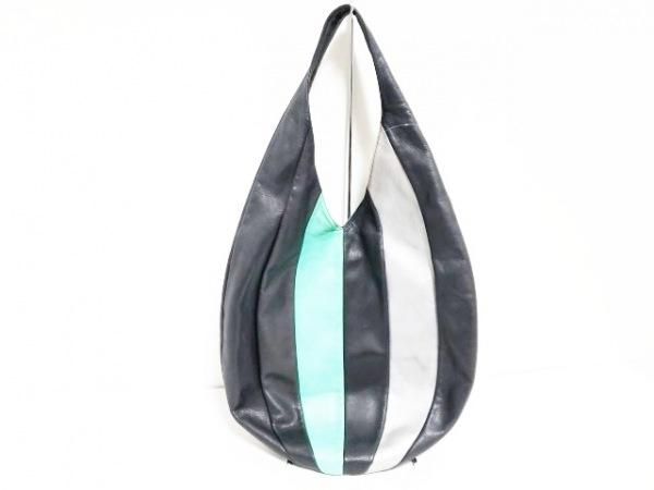 kawa-kawa(カワカワ) ハンドバッグ 黒×グリーン×シルバー レザー