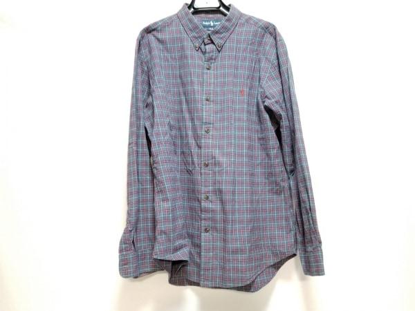 ラルフローレン 長袖シャツ サイズXL メンズ ネイビー×レッド×マルチ チェック柄