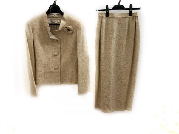 YUKITORII(ユキトリイ) スカートスーツ サイズ9 M レディース美品  ベージュ×マルチ