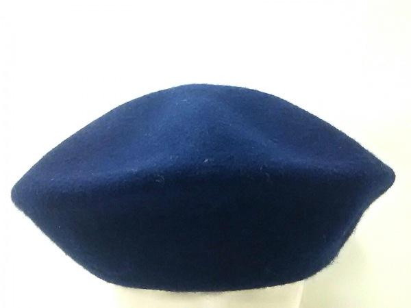 【中古】 カシラ CA4LA 帽子 ダークネイビー 刺繍 ウール