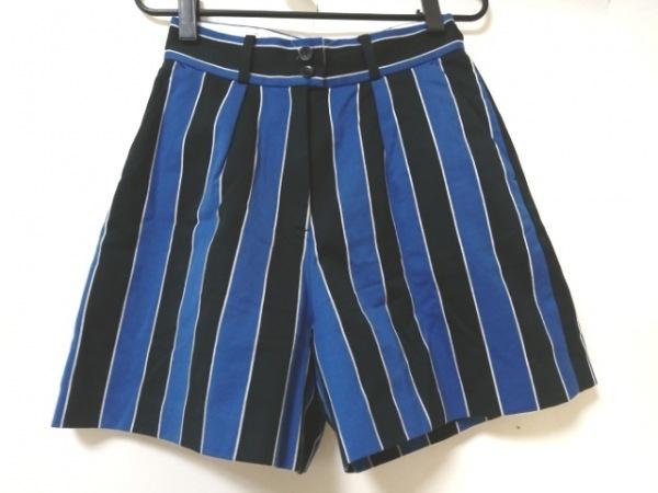 ロイスクレヨン ショートパンツ サイズM レディース ブルー×黒×白 ストライプ