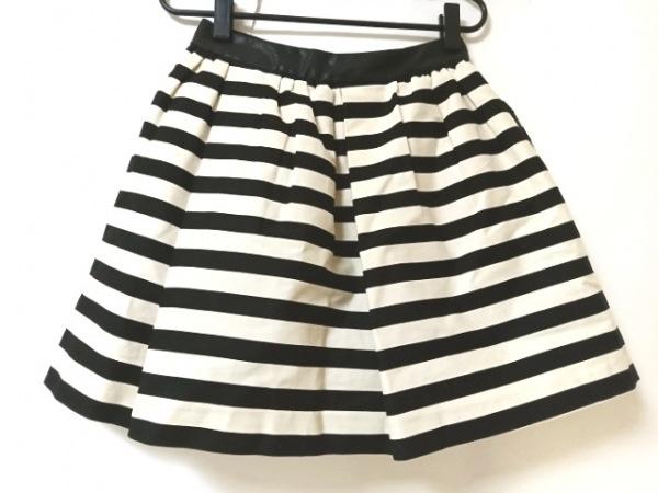 ロイスクレヨン スカート サイズM レディース美品  黒×アイボリー ボーダー