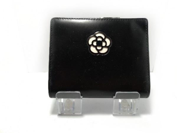 CLATHAS(クレイサス) 2つ折り財布 黒×白×シルバー がま口 合皮×金属素材