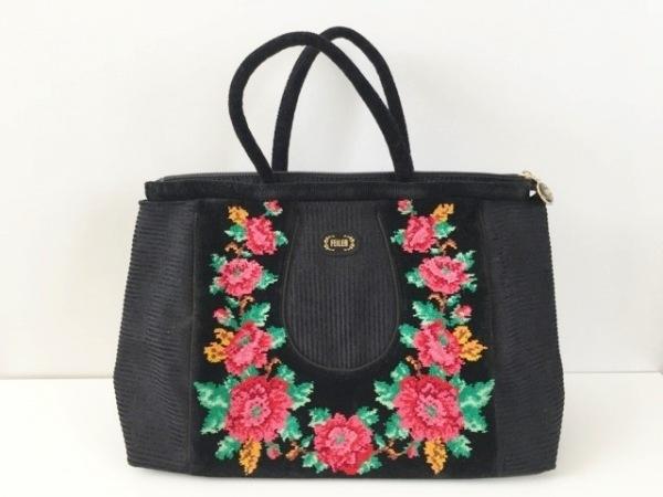 フェイラー ハンドバッグ 黒×ピンク×マルチ メッシュ/花柄 化学繊維×パイル×合皮