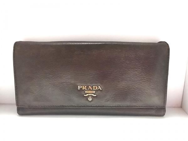 PRADA(プラダ) 長財布 - ダークブラウン レザー