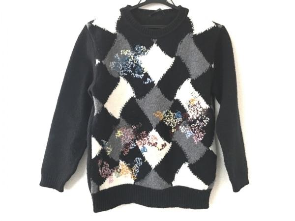 エルマノシェルビーノ 長袖セーター サイズ40 M レディース美品  黒×白×マルチ