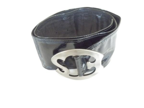 エルマノシェルビーノ ベルト 70 黒×シルバー エナメル(レザー)×金属素材