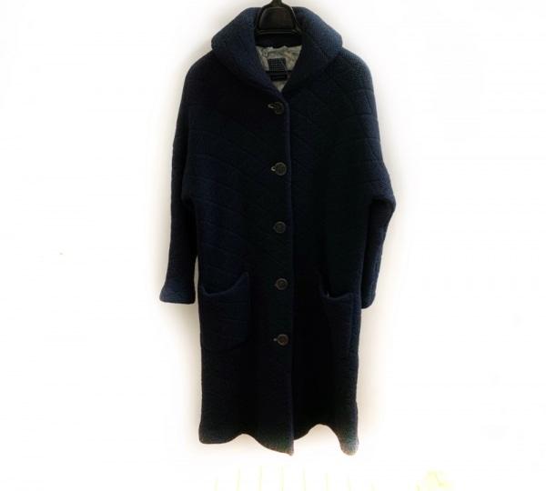 ミナペルホネン コート サイズ38 M レディース美品  ネイビー 冬物/ニット/ロング丈