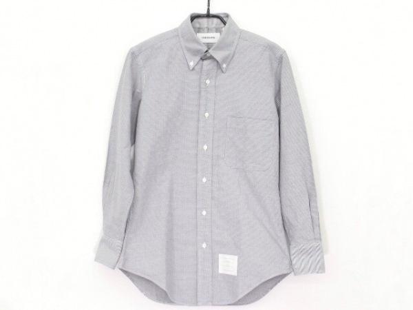 トムブラウン 長袖シャツ サイズ37 メンズ美品  グレー×ダークネイビー ストライプ