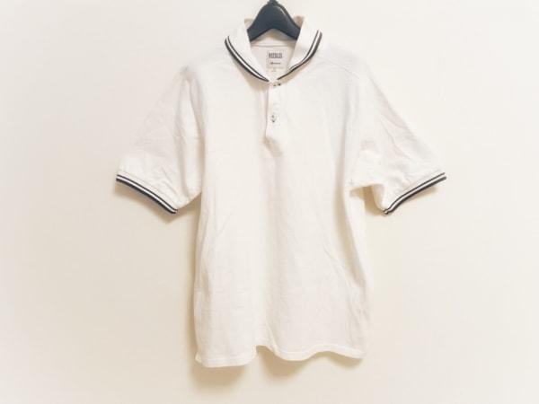 needles(ニードルス) 半袖ポロシャツ サイズL メンズ 白×ネイビー