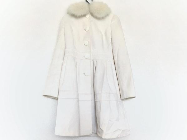 プライベートレーベル コート サイズS レディース 白 ファー/リボン/冬物