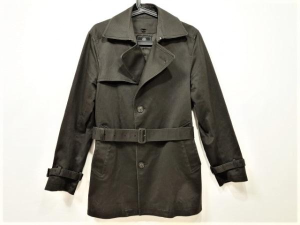 MEN'SBIGI(メンズビギ) コート サイズ02 M メンズ ダークブラウン ストライプ/冬物