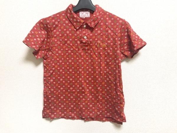 EVISU(エヴィス) 半袖ポロシャツ サイズ2 M レディース美品  レッド×マルチ
