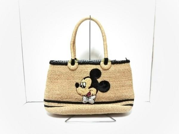 ビームスボーイ ハンドバッグ美品  ベージュ×黒×マルチ Disney/かごバッグ