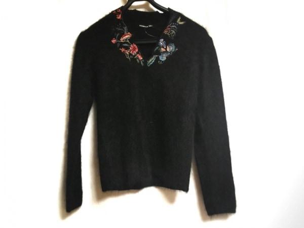 ヴィヴィアンタム 長袖セーター サイズ40 M レディース 黒×マルチ フラワー/刺繍