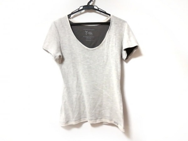 YANUK(ヤヌーク) 半袖Tシャツ サイズS レディース ライトグレー×アイボリー Y-tee