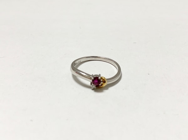 田崎真珠(タサキシンジュ) リング美品  Pt900×K18YG×ルビー×ダイヤモンド マルチ
