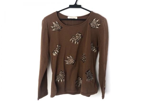 イタリヤ 長袖セーター サイズ11 M レディース美品  ブラウン×ベージュ×ゴールド