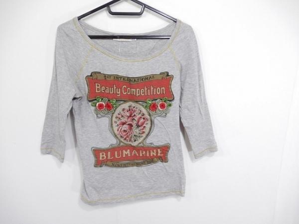 ブルマリンジーンズ 七分袖Tシャツ サイズ42 L レディース グレー×レッド×マルチ