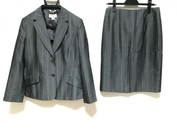Talbots(タルボット) スカートスーツ レディース新品同様  ダークグレー×白