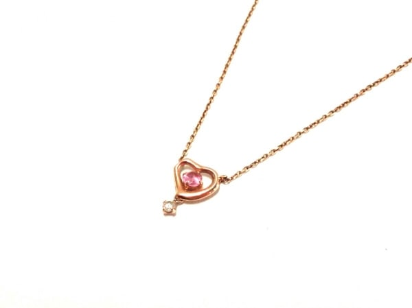 TAKE-UP(テイクアップ) ネックレス美品  K10×カラーストーン ピンク ハート