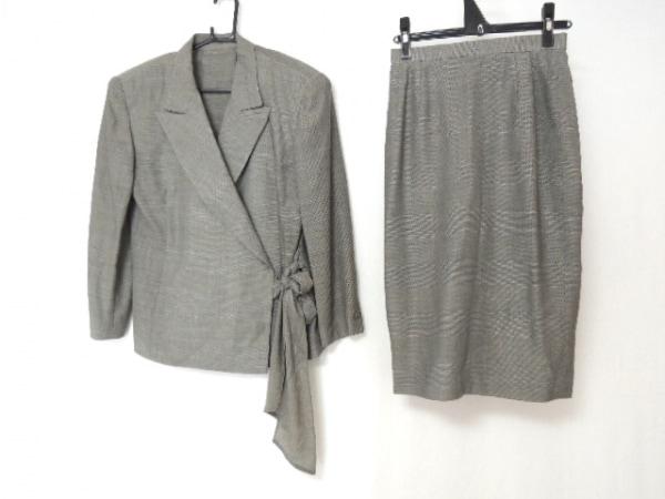 コーザノストラ スカートスーツ サイズM レディース グレー×黒 チェック柄/リボン