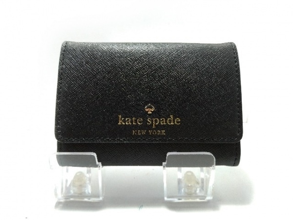 ケイトスペード コインケース美品  PWRU3897 黒 パスケース・キーリング付き レザー