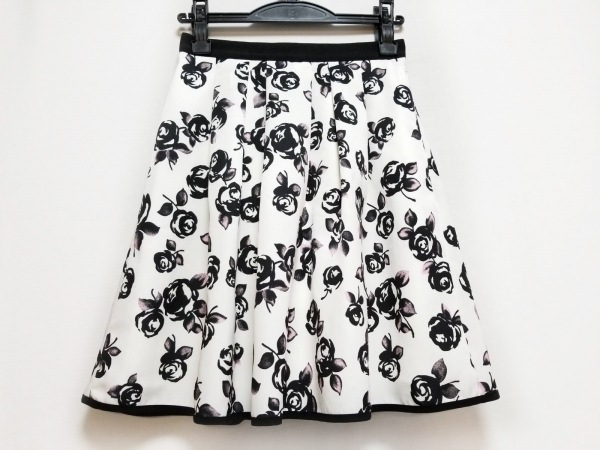 アプワイザーリッシェ スカート サイズ0 XS レディース美品  白×黒×ピンク 花柄