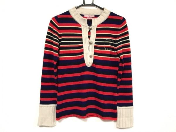 クイーンアンドベル 長袖セーター サイズS レディース レッド×ネイビー×マルチ