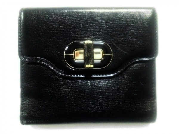 BVLGARI(ブルガリ) 2つ折り財布美品  イザベラ・ロッセリーニ 黒 レザー